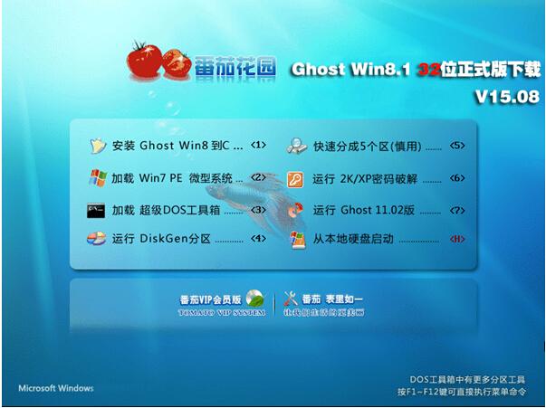 番茄花园 Ghost Win8.1 32位正式版下载V15.08