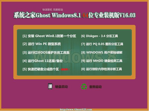 系统之家 Ghost Win8.1 X64 专业装机版 V16.03(64位)